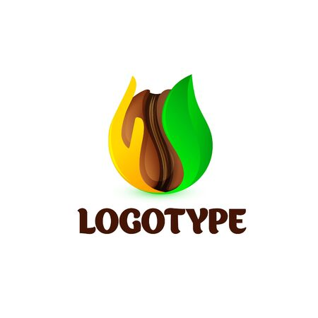 Vector logo. Brown coffee beans. Green leaf and yellow hand.