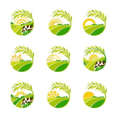 Farm isolated green logo collection. Rural landscape logos set. Environmental signs. Set of vector design emblem elements. Green plantations logotype