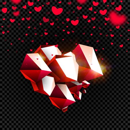 Stone heart on transparent background, falling hearts with blurring effect, isolated vector design set and background for Valentine s Day Çizim