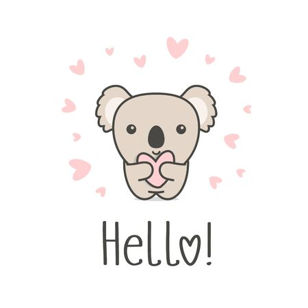Cute animal with heart and Hello text. Smiling Koala and Love symbol on white background. Greeting card template for St. Valentines Day funny romantic vector illustration.