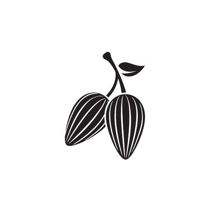 cocoa beans on pod with leaf for drinks and baking, drawing silhouette, cocoa icon simple isolated illustration on white background