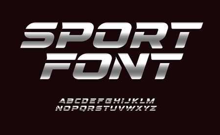 Sport font with chrome texture. Trendy letters design for sport, automotive, car moto speed race and other dynamic scene. Vector bold cursive font.