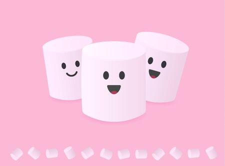 Cute abstract simple characters group of marshmallows with smiley face for packaging  of snacks and sweets on pink background