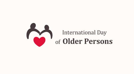International Day of Older Persons emblem template, two older persons silhouette with red heart, senescence people symbol, raising awareness about issues affecting elderly vector icon