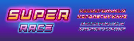 Super hero race letters set. Comic book style alphabet with glow effect. Backlit retro font for comic book, logo, banner, monogram and poster. Vector typography design. Illustration