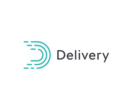 Abstract delivery icon, turquoice linear letter D. Dashes lines logo template, flat abstract emblem. Concept logotype design for delivery and transportation company, logistic business. Vector logo.