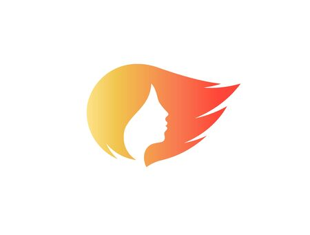 Womans face profile silhouette isolated vecor logo. Orange streaming hair logotype. Hair care cosmetc symbol. Hairdressers sign.