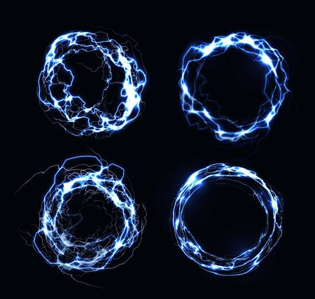 Electric frames, lightning collection, circle made of electric discharge, natural phenomenon, vector illustration