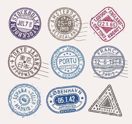 Postal stamps, vector collection, isolated stamps on white background.