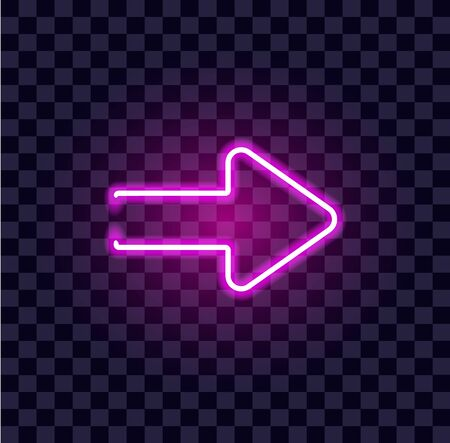 neon arrow luminous indicator neon tube showing right direction to right side glowing vector icon on transparent background Vettoriali
