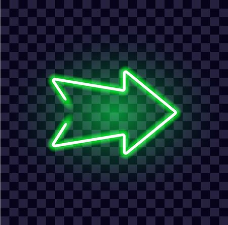 neon arrow luminous indicator neon tube showing right direction to right side glowing vector icon on transparent background