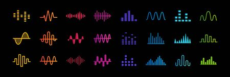 Set of music equalizer icons, sound waves lines, rate and chart bar symbols collection, heart pulse medical sign, vector illustration