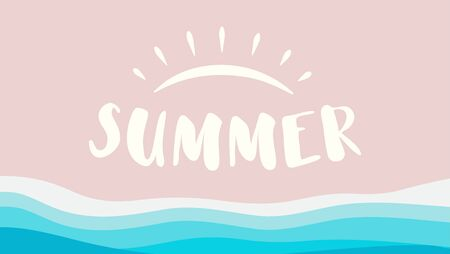 Summer beach vector illustration. Ocean isolated blue and pink. Sea resort logo. Sun element background.