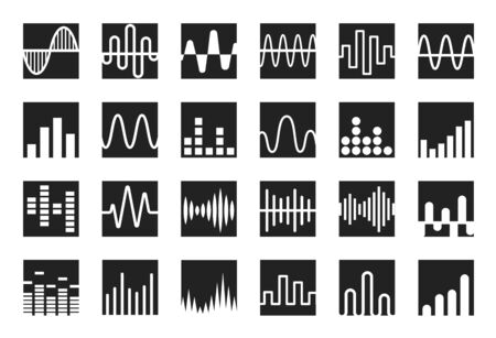 Waves icon set. Sound wave, music and radio wave curves template. Isolated vector emblems.