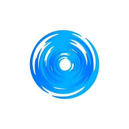 Blue round swirl logo. Hurricane and typhoon whirlpool, vortex, maelstrom circular logotype. Fresh drink icon. Air conditioning system vector illustration. Blowing wind sign. Vinyl isolated emblem.