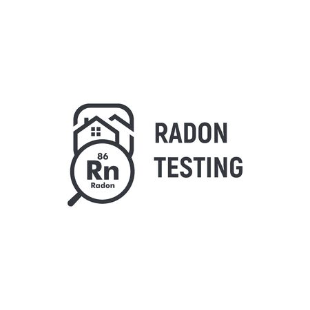 Radon testing first alert kit logotype. Home rn remediation service logo. Poisonous chemical element, gas spreading prevention icon. Black and white house and magnifying glass contour vector sign.