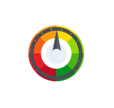 Colorful selector, regulator, speedometer logo. Fuel, petrol indicator logotype. Pollution, radiation control sign. Temperature, heat sensor icon. Barometer symbol. Compass, navigation element. Ilustrace