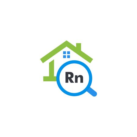 Radon pollution testing service graphic icon. Isolated house rent search website logo. Real estate sale web logotype. Buiding company. Rn, dangerous chemical element alert kit vector illustration.