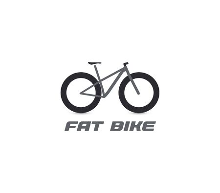 Black fat mountain bike silhouette logo. All-terrain bicycle logotype. Professional cycling icon. Cross country cycle, bike ride sign. Vectores