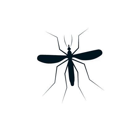 Anopheles mosquito logo. Dangerous bloodsucking insect logotype. Flying dengue disease carrier icon. Black and white infectious midge vector illustration. Ilustracja
