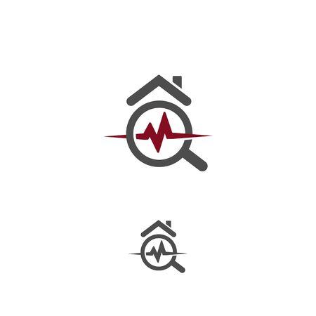 House healthcare icon. Real estate durability test logo. Earthquake property damage insurance logotype. Home radon radiation testing icon. Dangerous house pollution isolated vector illustration. Logo