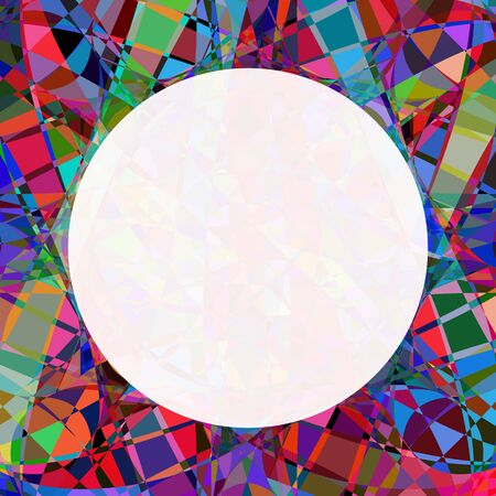 Chaotic colorful broken stained glass seamless pattern. Round mosaic photo frame. Polygonal texture decoration.