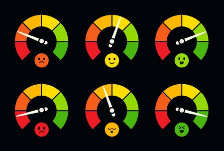 Speedometer, barometer, fuel and petrol gauge logo set. Dial indicator with emoji, dashboard sensor logotype collection. Colorful round meters, business performance scale. Stock Illustratie