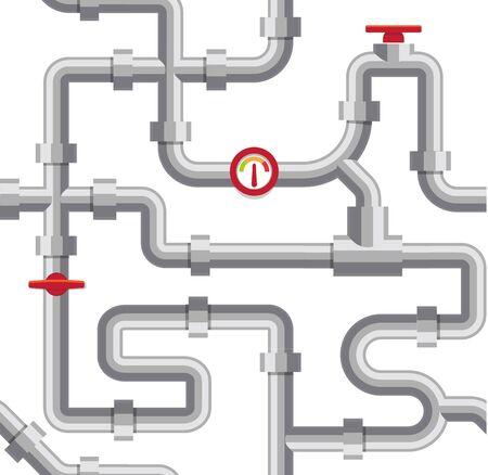 Graue Wasserrohre-Vektor-Illustration. Sanitärsystem, Pipeline-Kanal auf weißem Hintergrund. Abwasserkanal, Wasserversorgungsprojekt. Vektorgrafik