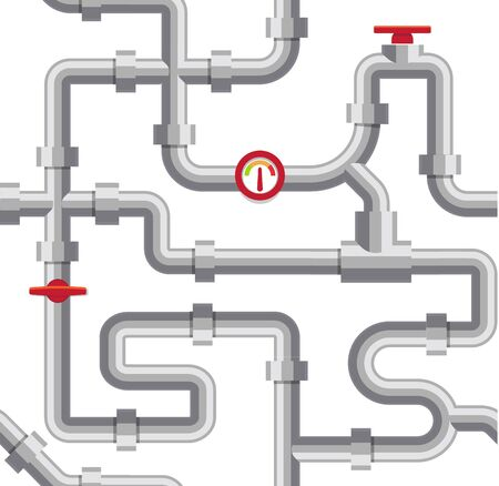 Ilustración de vector de tuberías de agua gris. Sistema de plomería, canal de tubería sobre fondo blanco. Conducto de alcantarillado, proyecto de suministro de agua. Ilustración de vector