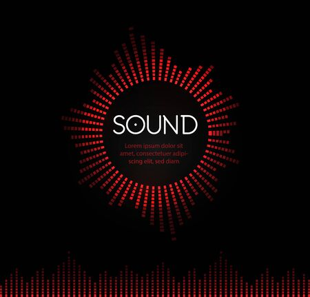 Red round musical sound logo. Soundtrack recording logotype. Music play back circle vector illustration. Tunes application icon on black background. Musical studio record icon. Audio track symbol.