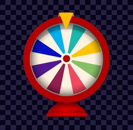Fortune wheel logo. Colorful gamblig website emblem. Casino random choice slot machine icon. Lottery jackpot sign on checkered background. Raffle prize. Isolated stopwatch vector illustration.