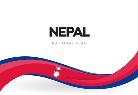 The Federal Democratic Republic of Nepal waving flag banner. Nepali national holiday celebration poster. Patriotic Nepalese ribbon vector illustration.Independence day anniversary.Day of the Republic. Illustration
