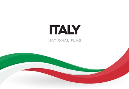 The Italian Republic waving flag banner. National symbol of Italy poster. Patriotic green, red and white ribbon vector illustration. Festival of the Republic. Public holiday. Independence day.