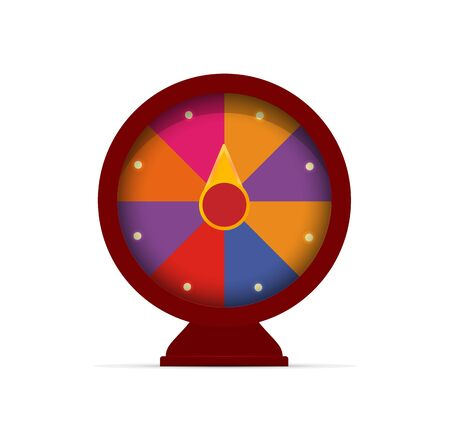Fortune wheel game logo. Casino slot machine emblem. Online gambling icon. Colorful random choice winner sign. Money stakes symbol. Raffle prize. Isolated compass vector illustration.