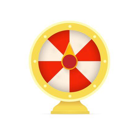 Fortune wheel logo. Casino random winner slot machine emblem. Gambling game icon. Lottery,roulette sign. Raffle prize symbol. Isolated money bets vector illustration Ilustrace