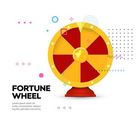 Fortune wheel icon on memphis style background. Gambling website banner. Random winner casino slot machine poster. Raffle prize. Money bets emblem. Isolated lottery,roulette vector illustration Ilustrace