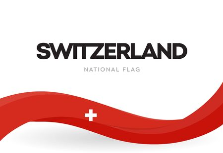 Switzerland waving flag banner. Swiss confederation patriotic red ribbon poster. Swiss independence day anniversary celebration brochure. National public holiday symbol vector illustration.