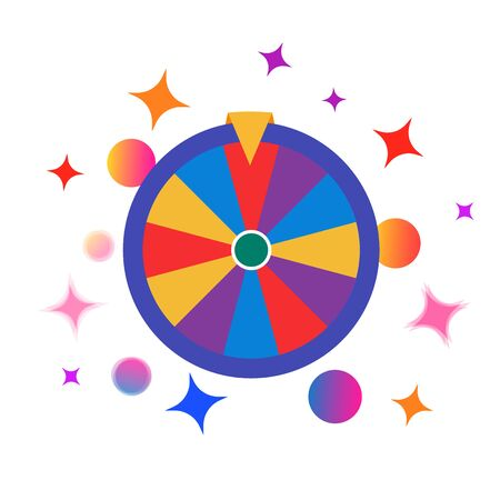 Colorful fortune wheel icon, random choice wheel with falling balloons and stars and glare, winner and lucky symbol, vector isolated illustration on white background.