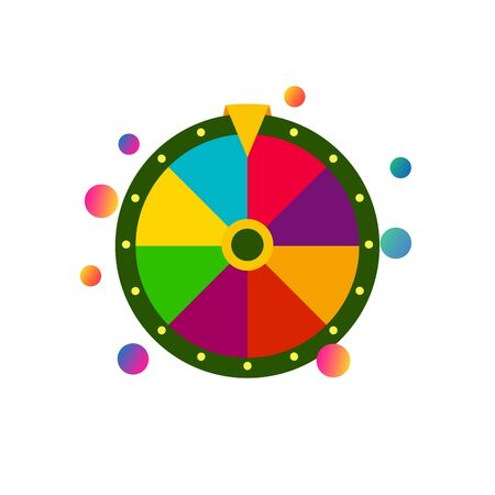 Colorful flat fortune wheel icon, random choice wheel with falling balloons and bubbles, winner and lucky symbol, vector isolated illustration on white background.