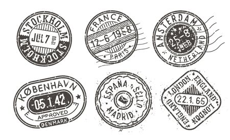 Visa stamps set, retro postal stamps. International passport prints collection. Isolated black and white post office vector signs.