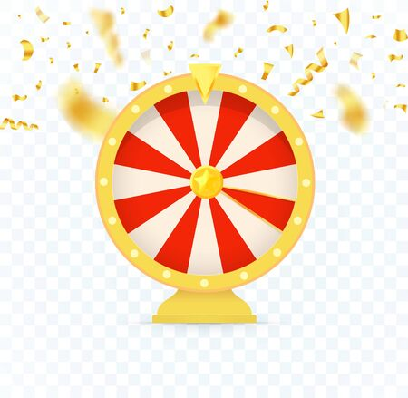 Golden fortune wheel icon, random choice wheel with falling candy, vector isolated illustration on transparent background.