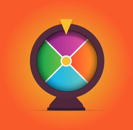Colorful gambling game, fortune wheel illustration. Casino spin and win slot machine sign. Random win. Money betting. Isolated compass icon.