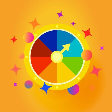 Fortune wheel emblem. Confetti explosion vector icon. Gambling entertainment, money stakes. Isolated compass illustration.