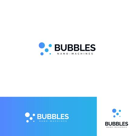 Bubbles logo set. Sparkling mineral water logotype collection. Aqua park, jacuzzi sign. Fresh fizzy drink icon. Washing powder, soap emblem. Car wash symbol. Isolated laundromat vector illustration