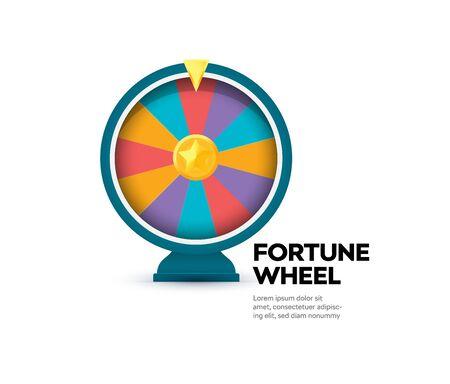 Fortune wheel banner. Gambling website poster. Raffle prize icon. Casino slot machine. Random winner vector illustration. Money stakes application sign. Gaming app symbol. Isolated lottery brochure. Ilustrace