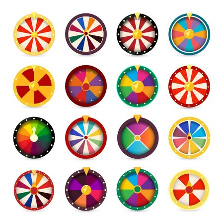 Fortune wheels. Gambling games logo set.