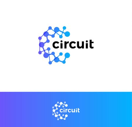 Digital innovation circuit logo. Technological progress logotype. Atomic structure, science laboratory icon. Artificial computational intelligence blue abstract round vector emblem Ilustrace