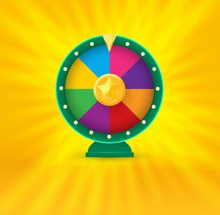 Vegas casino round fortune wheel logo. Colorful gambling website logotype. Online risky money stakes. Lucky chance roulette vector illustration Ilustrace
