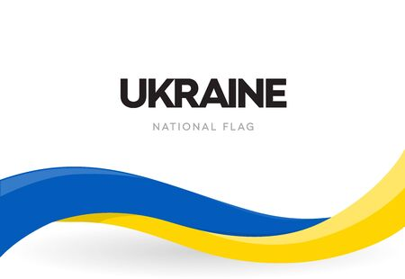 Ukrainian waving flag banner. Ukraine independence day official holiday poster. The 34th of August traditional annual celebration brochure. Revolution of dignity vector symbol. Isolated ribbon. Illustration
