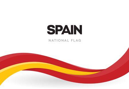 Spanische wehende Fahnenfahne. Nationalsymbol von Spanien. Rotes und gelbes Bandplakat. Die Urlaubspostkarte vom 12. Oktober. Entdeckung der Amerika-Jubiläumsvektorillustration. Jahresfeier. Vektorgrafik